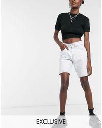 Collusion Short en jean coupe masculine - délavé - Blanc