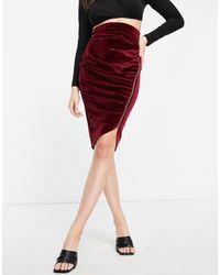 Vesper Velvet Midi Skirt - Red