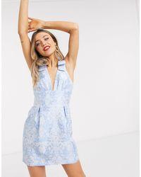 Forever New Голубое Жаккардовое Платье Мини С Завязками На Плечах И Цветочным Рисунком -синий