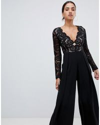 Love Triangle - All Over Cut Work Lace Top Wide Leg Split Jumpsuit In Black - Lyst