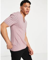 ASOS Knitted Ribbed Revere Polo T-shirt Dusty Pink