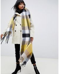 ASOS Block Check Scarf With Yellow Highlight - Multicolor