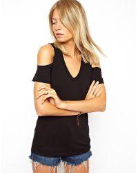 ASOS T-shirt With V Neck And Cold Shoulder - Black