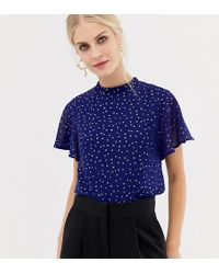 Oasis - Glitter Spot Blouse With Angel Sleeves In Blue - Lyst