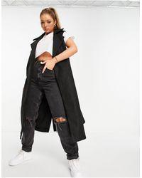 NA-KD Chaqueta larga negra sin mangas con cinturón - Negro