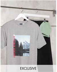 Reclaimed (vintage) Camiseta gris con paisaje estampado