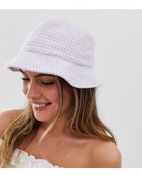 New Look - Gingham Check Bucket Hat In Lilac - Lyst