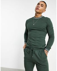 ASOS Tracksuit With Striped Rib - Green