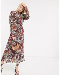 ASOS Soft Maxi Tea Dress With Puff Sleeves - Multicolour