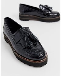 ASOS Meze Chunky Fringed Leather Loafers - Black