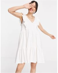 Mango Organic Cotton Frill Summer Dress - White