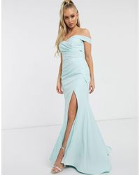 Jarlo Bardot Maxi Dress With Sweetheart Plunge - Blue