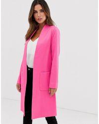 Helene Berman Edge To Edge Duster Coat In Neon Jacquared - Pink