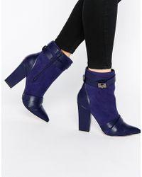 Little Mistress - Newman Cross Strap Chunky Heel Boots - Lyst