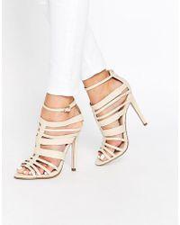 Little Mistress Taylor Multi Strap Peep Toe Heeled Sandals - Natural