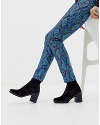 ASOS Responsive - Fluwelen Sock Boots Met Dikke Zool - Zwart