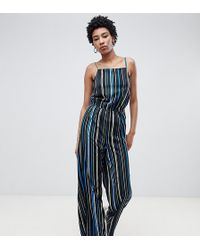 Noisy May Tall - Stripe Wide Leg Cami Jumpsuit - Lyst