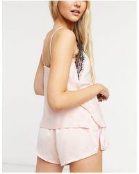 Ann Summers Нежно-розовый Атласный Комплект С Майкой И Шортами С Кружевной Отделкой Cerise-розовый Цвет