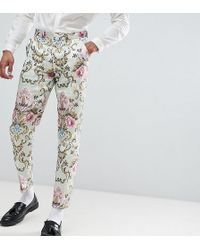 ASOS - Tall Wedding Skinny Suit Trousers In Pastel Floral Jacquard - Lyst