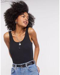 Vila Popper Front Thong Bodysuit - Black