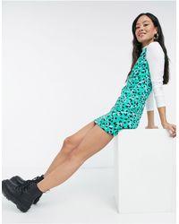 Love Moschino Зеленое Облегающее Платье Мини С Ярким Леопардовым Принтом -зеленый Цвет