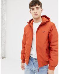 Fred Perry Оранжевая Дутая Куртка С Капюшоном - Оранжевый