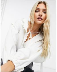 In The Style X Lorna Luxe Volume Sleeve Bodysuit With Oversized Collar Detail - White