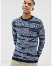 Tom Tailor – Marineblauer Pullover mit Zickzack-Design und Military-Muster