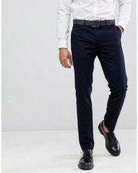Farah Hampton Hopsack Slim Fit Suit Trousers - Blue