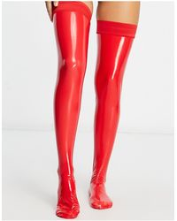 Ann Summers Wetlook Hold Ups - Red