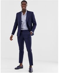 Moss Bros Moss London Slim Fit Suit Trousers With Stretch - Blue