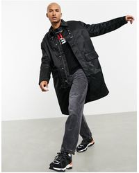 DIESEL W-adam Oversized Longline Coat - Black