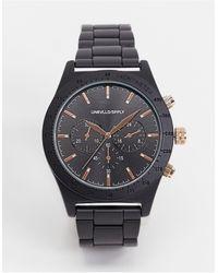 ASOS Montre bracelet avec détail or rose - Noir