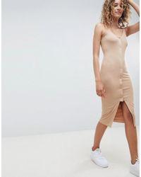 ASOS - Popper Front Scoop Neck Midi Dress - Lyst