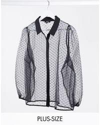 Simply Be Черная Сетчатая Рубашка В Горошек Добби -черный