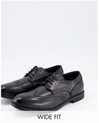 Truffle Collection Wide Fit Formal Lace-up Brogues - Black