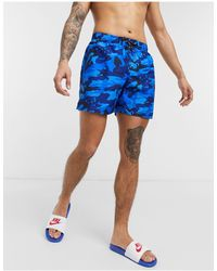 Nike Swimming 5-inch Camo Volley Shorts - Blue