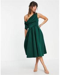 ASOS Зеленое Платье Миди Для Выпускного С Открытыми Плечами - Зеленый