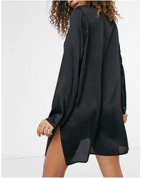 ASOS Satin Sleep Shirt - Black