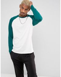 ASOS - Design Long Sleeve T-shirt With Contrast Raglan Sleeves - Lyst