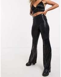 Bershka Flare Sequin Trouser - Black