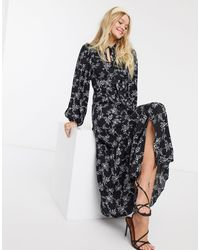 River Island Pussybow Floral Maxi Dress - Black