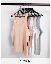 ASOS 5 Pack Organic Vest - Multicolour