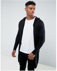 ASOS Vest Met Capuchon, Open Voorkant En Ronde Zoom - Zwart