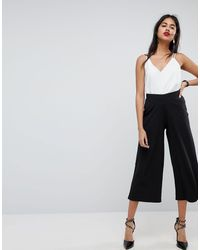 ASOS Pull On Cropped Wide Leg Trousers In Crepe - Black