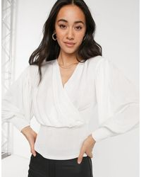 Closet - Wrap Blouse Top With Volume Sleeve - Lyst