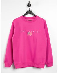 Daisy Street Relaxed Sweatshirt With Los Angeles Embroidery - Pink