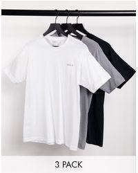 DKNY Pack de 3 camisetas color negro, blanco y gris jaspeado de cuello redondo de -Multicolor