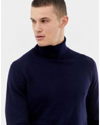 Jack & Jones Premium Knitted Roll Neck With Contrast Cuff Tipping - Blue