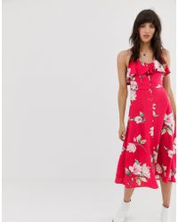 Band Of Gypsies - Ruffle Front Button Down Midi Dress In Pink Floral Print - Lyst